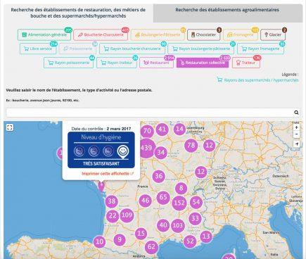 Grâce à la plateforme Open Data d'OpenDataSoft, le Ministère a lancé le dispositif Alim'confiance, afin de publier les résultats des contrôles sanitaires des établissements alimentaires